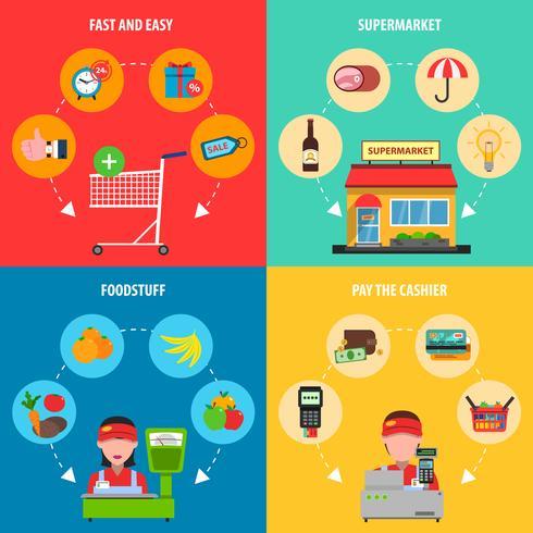 Conjunto de concepto de supermercado