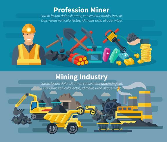 Mining Banner Set vector