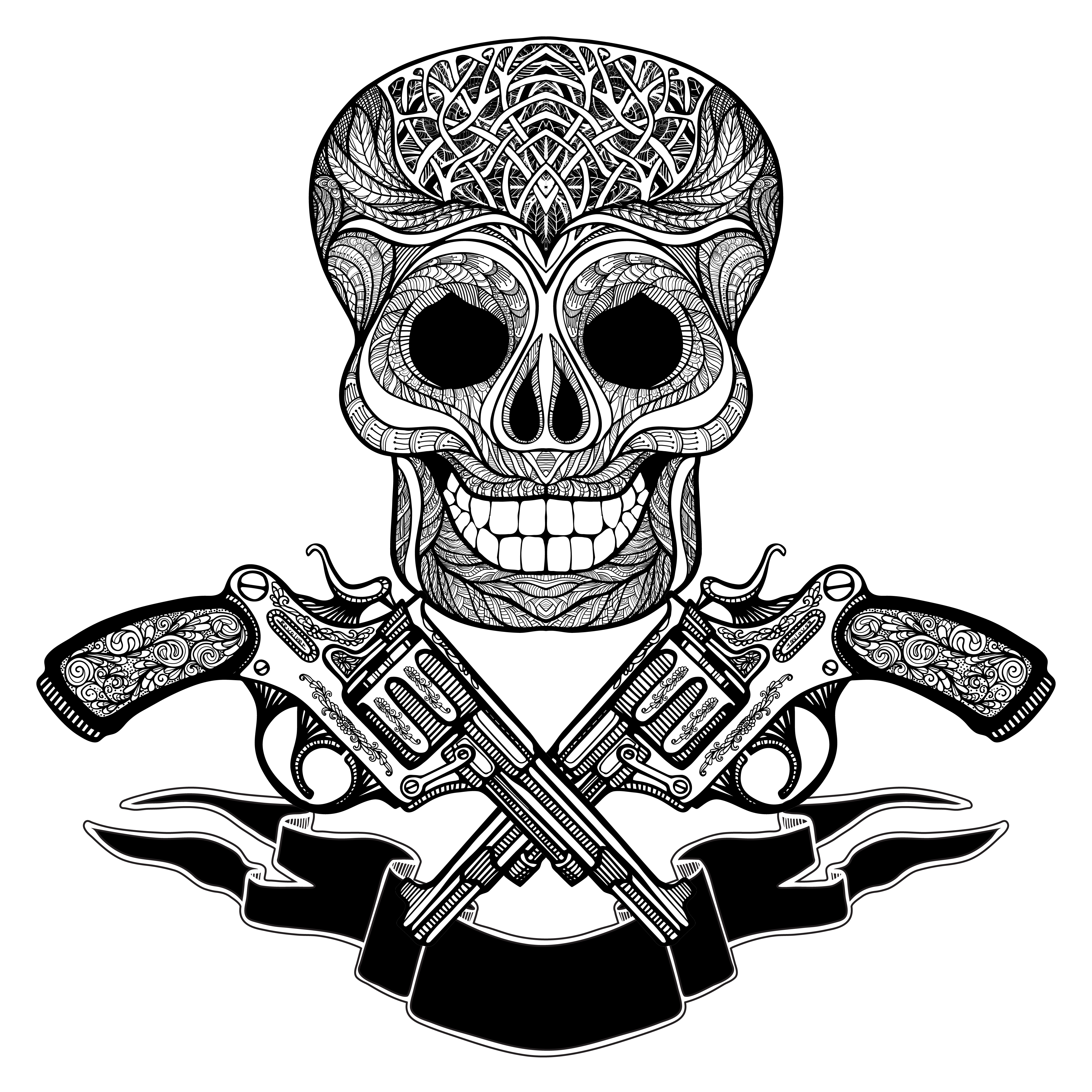 Vintage Ribbon Banners: Crossed Guns With Ornaments Ribbon And Skull