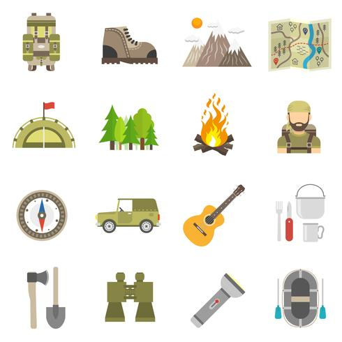 Tourismus Icons Flat Set vektor