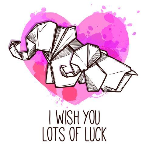 Carte du jour spécial éléphants en origami