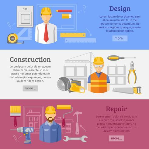 Conjunto de banners horizontales de concepto de construcción