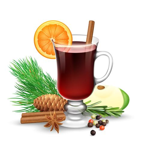 Red Mulled Wine For Winter And Christmas vector
