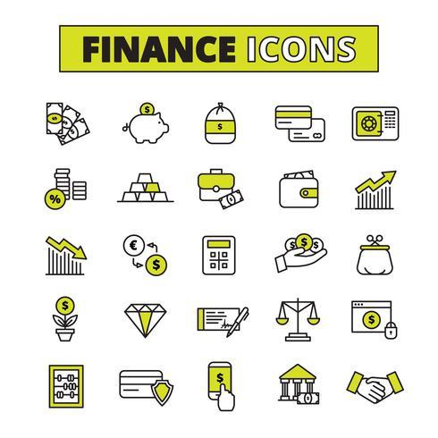 Finans ikoner inställd linje
