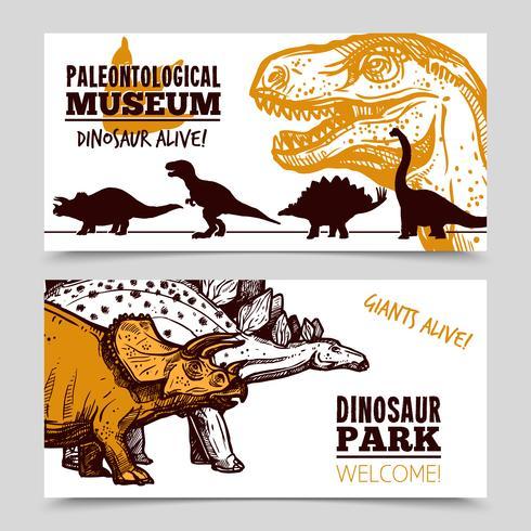 Esposizione di dinosauri museo 2 set di banner vettore