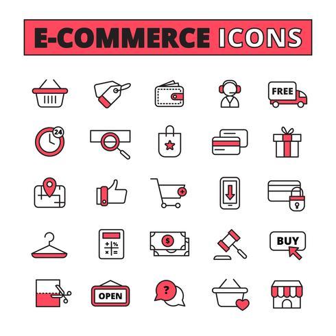 Conjunto de ícones de linha de comércio eletrônico vetor