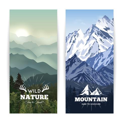 Bannières de montagnes verticales