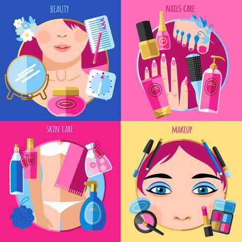Make-up schoonheid 4 plat pictogrammen vierkant vector