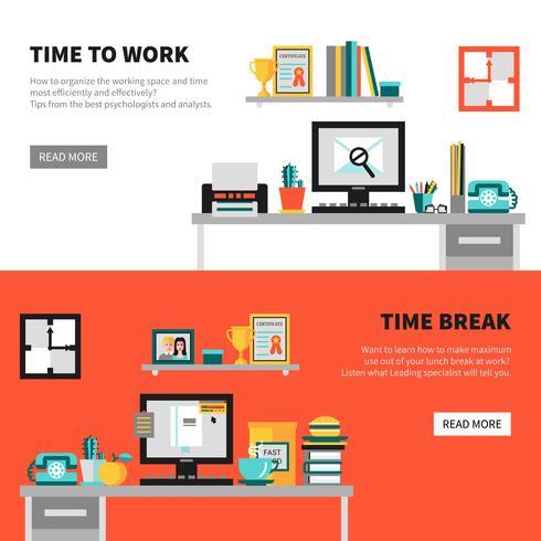 Office-banners met werkruimte-ontwerpsets