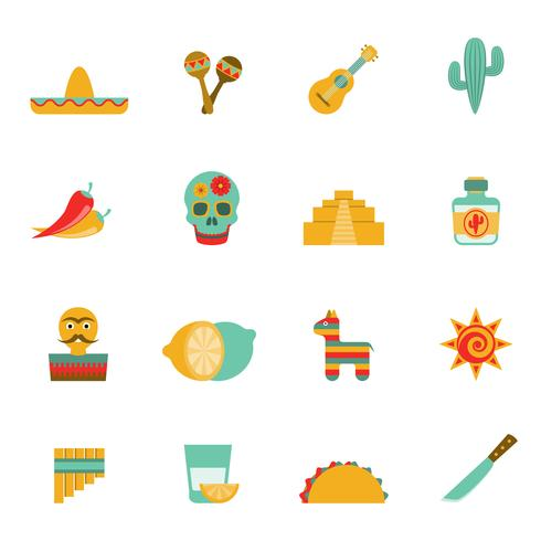 Conjunto de iconos planos de símbolos de la cultura mexicana vector