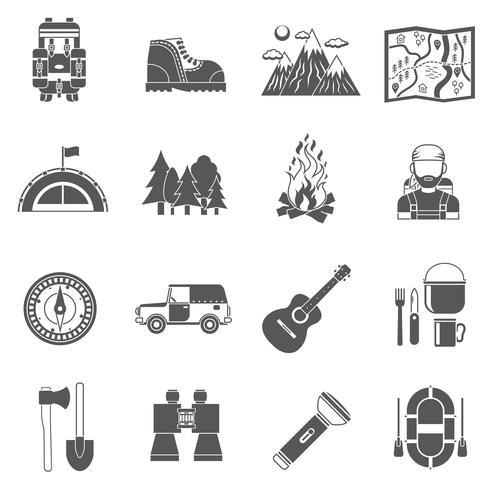 Toerisme pictogrammen zwart vector