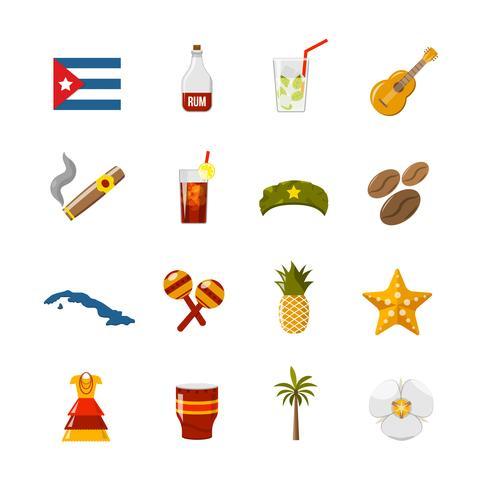Color plano aislado iconos de Cuba