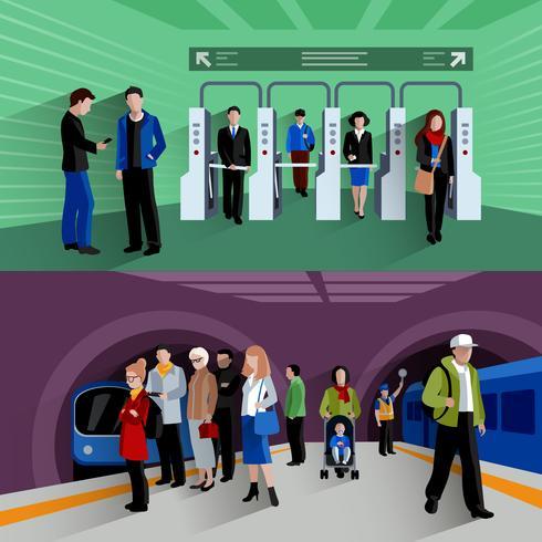 Subwaypassagerare 2 platt bannersammansättning vektor
