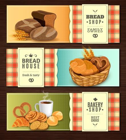 Conjunto de Banners horizontales de la casa de pan vector