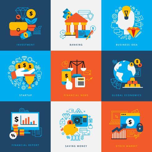 Conjunto de concepto de diseño de finanzas