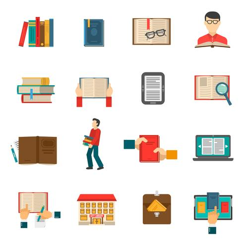 Bibliotheek Icons Set