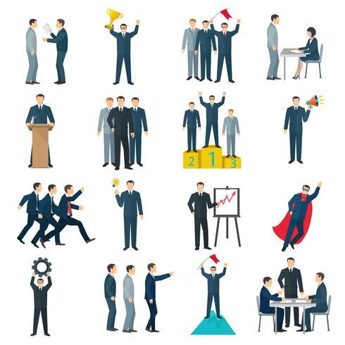 Iconos de colores planos de liderazgo vector