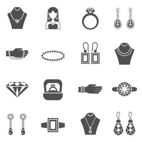 Sieraden zwart wit Icons Set