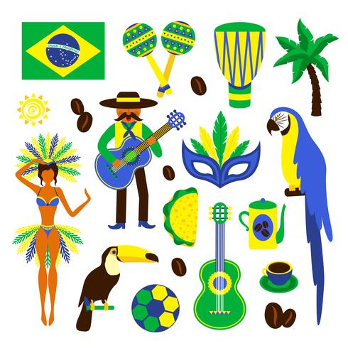 Brazil decorative set vector