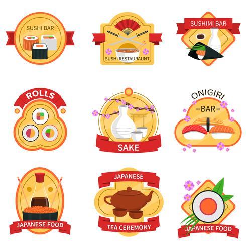 Set di etichette di sushi