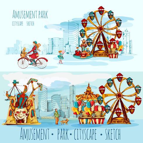 Paysage urbain de parc d'attractions