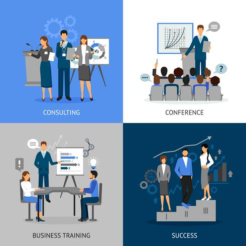 Business Training 2x2 Images Set vector