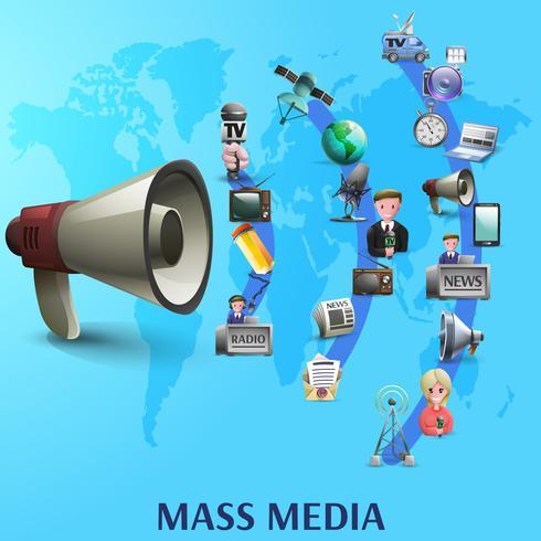 Cartel de los medios de comunicación vector