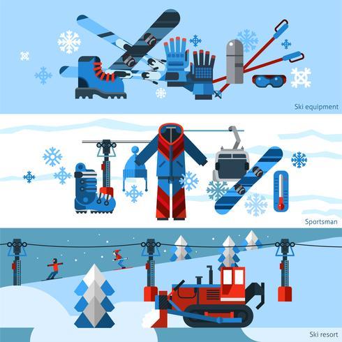 Tres banderas planas horizontales para esquiar vector