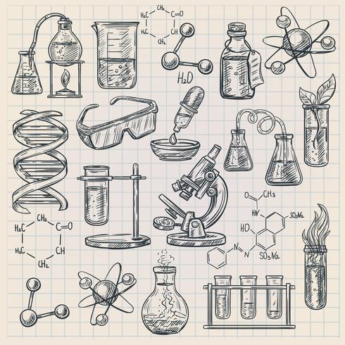 Icona di chimica in stile Doodle