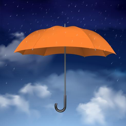 Ombrello arancione sul cielo con sfondo di nuvole