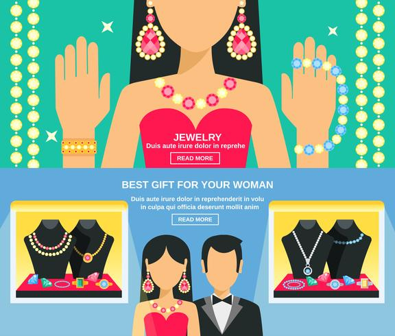 Jewelry And Gifts For Women Banners Set  vector