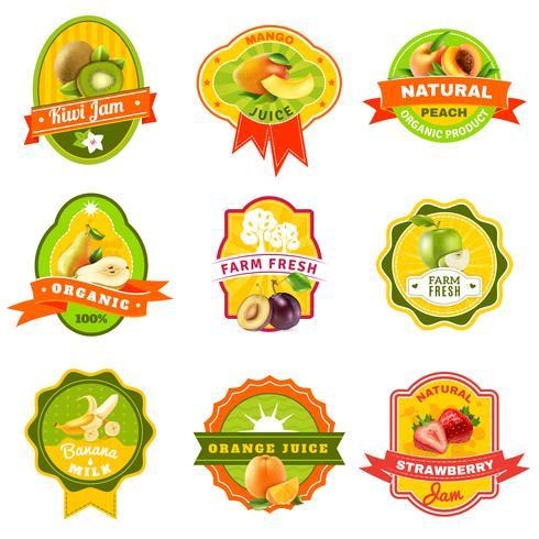 Fuits Emblem Labels set Color
