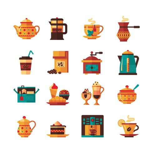 Icone set caffè e tè piatte