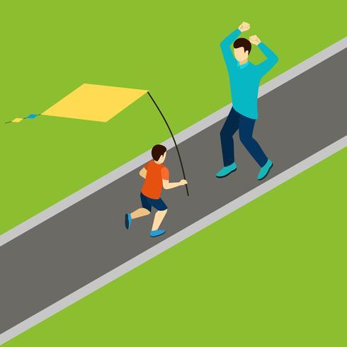 Brincando com ilustração de kite