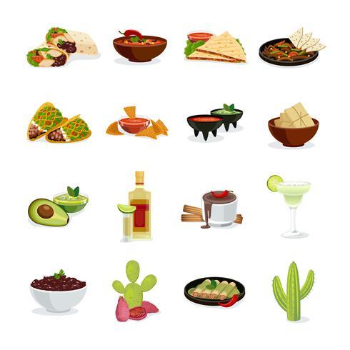 Jeu d'icônes plat de cuisine mexicaine vecteur