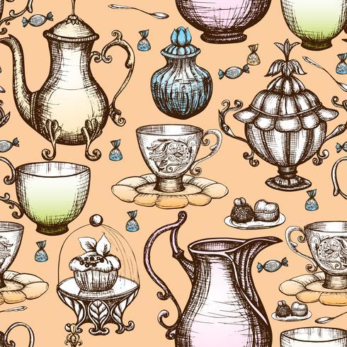 Patrón sin costuras de té vintage vector