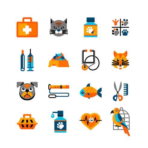 Conjunto de iconos veterinarios con mascotas
