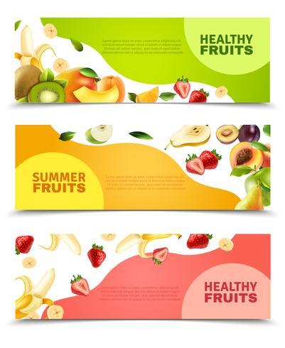 Fruits Colorful Flat Horizontal Banners Set vector