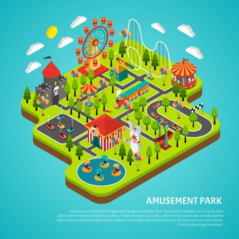Parque de diversões atrações Fairground isométrica Banner vetor