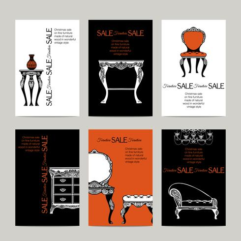 Hand Drawn Furniture  Banners In  Baroque Style vector