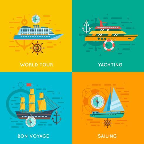 Quadrato piano delle icone di concetto nautico 4