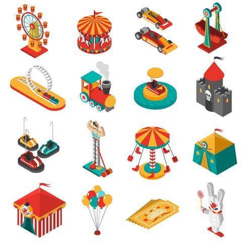 nöjespark isometrisk ikoner samling vektor