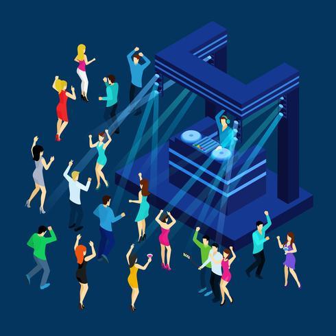 Ilustración isométrica de personas bailando
