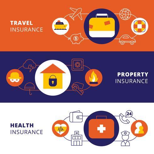 Insurance policy horizontal flat banners set