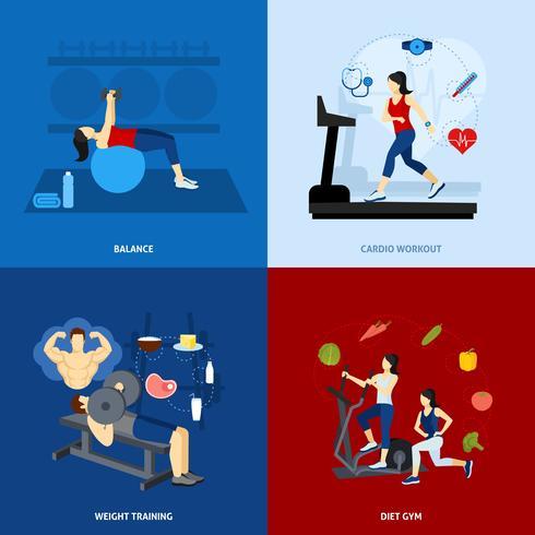 Gente de entrenamiento de gimnasio