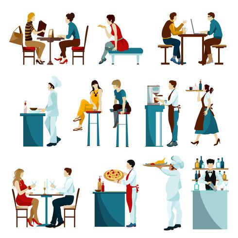 Restaurant visiteurs icônes plats définies