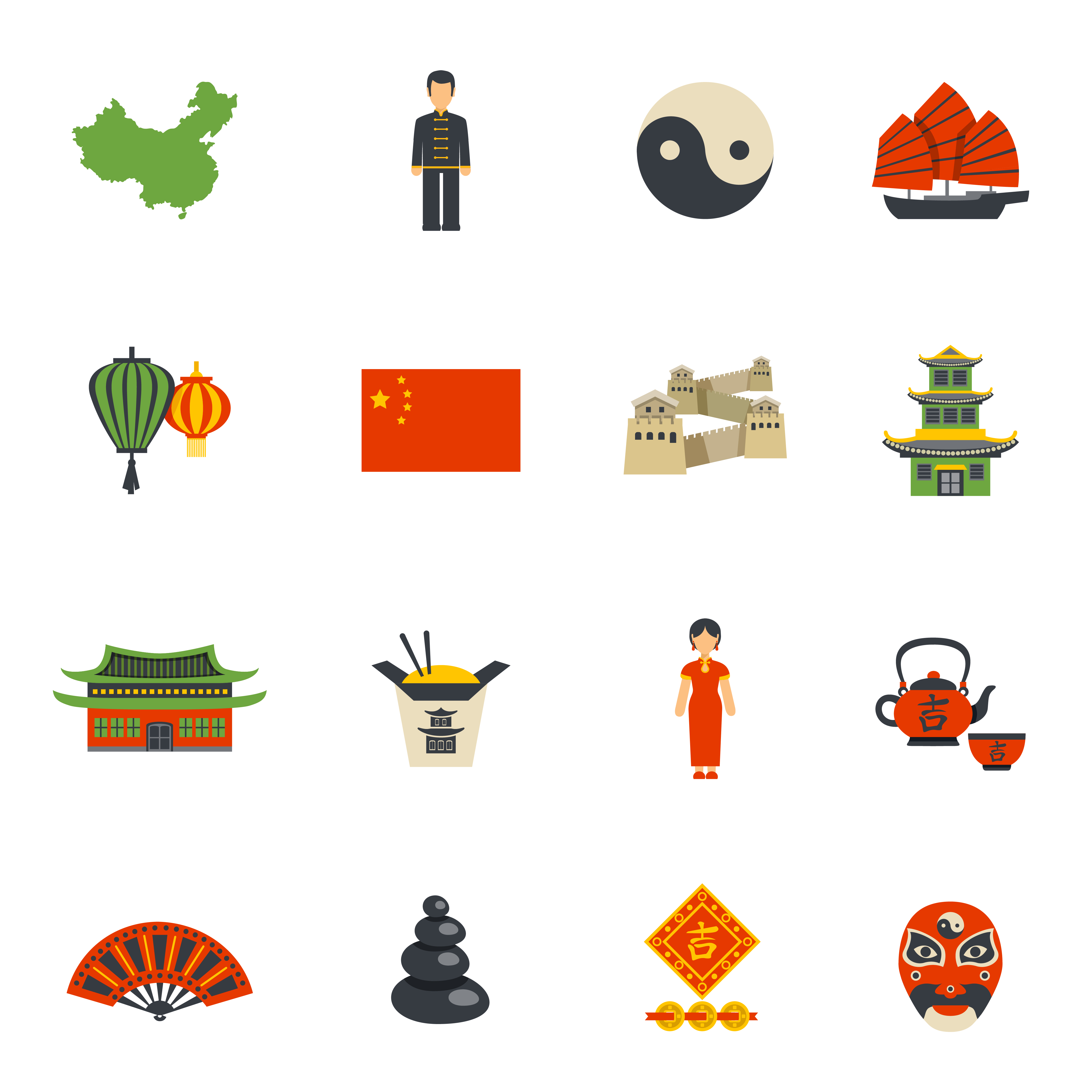 Chinese Culture Symbols Flat Icons Set Vector - Download