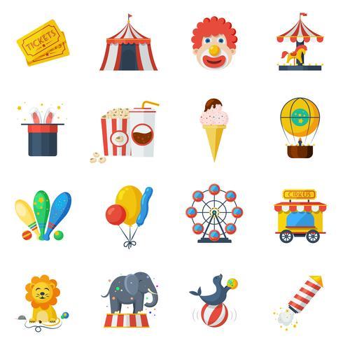 Cirkus ikoner platt set