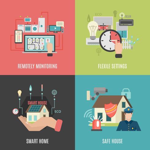Smart home 4 icone piane quadrate