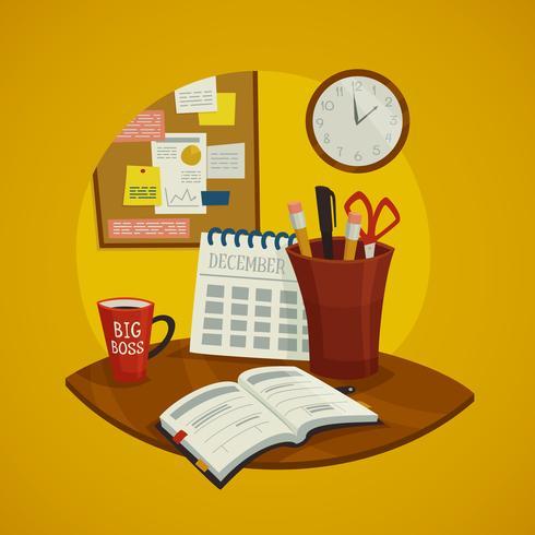 Conjunto de concepto de diseño de lugar de trabajo